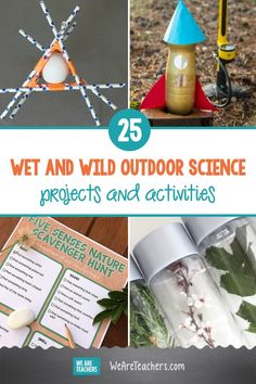 25 Wet and Wild Outdoor Science Projects and Activities. Head outdoors in any season and explore with these engaging, entertaining outdoor science activities. Blow giant bubbles, play nature bingo, and much more. Cool Science Experiments, Science Lessons, Teaching Science, Science For Kids, Science Projects, Learn Science, Science Resources, Science Ideas, Teaching Ideas