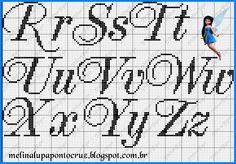 Letras punto de cruz R-Z
