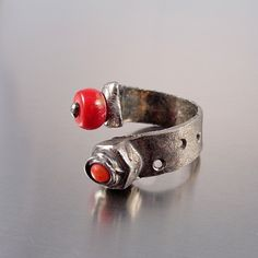 Coral Ring - Factory Belt Industrial style adjustable handmade ring with red coral
