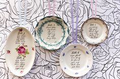 Vintage Plate Escort Card Display