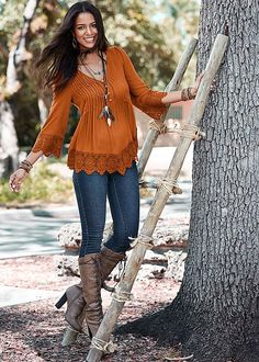 LACE DETAIL BUTTON UP TOP, COLOR SKINNY JEANS, LACE UP TALL BOOT