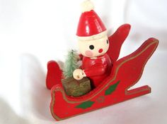 Vintage Christmas Ornament, Santa in Red Sleigh with Bottle Brush Tree Wood Ornament