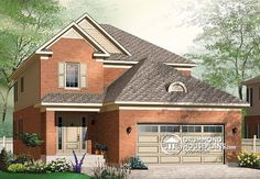 House plan W3858, Plan description  1st level: Entry, living room, dining room, kitchen/dinette, half-bath, utility room including laundry facilities. Double garage.  2nd level: Play room, three bedrooms and two bathrooms one of which is private for bedroom 1.