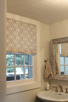 the picket fence projects: So shady! White roller blind, fabric, spray glue, an iron, & a handle.