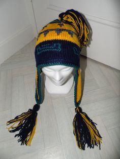 Bonnet péruvien marine et safran en acrylique : Chapeau, bonnet par annbcreation