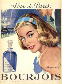 Soir de Paris 1958- Raymond Vintage Labels, Vintage Signs, Vintage Ads, Vintage Posters, Vintage Makeup, Vintage Glam, Vintage Beauty, Perfume Ad, Vintage Perfume