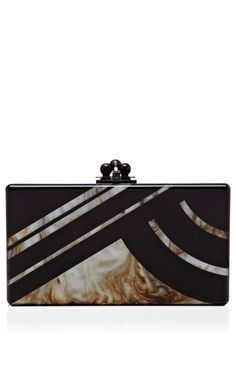 Edie Parker Black Acrylic Jean Clutch With New Mica Abstractions
