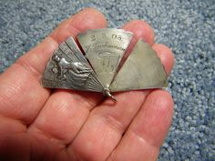 "Antique German Silver Art Nouveau movable Fan charm - reads "" Happy Day's "" US $275,00"