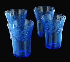Love the color, and Royal Lace pattern..... Vintage Hazel Atlas Depression Glass Cobalt Blue Royal Lace Tumblers ...