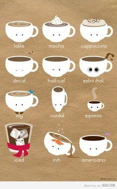 latte - mocha - cappuccino - decaf - half-caf - extra shot - soy - non-fat…