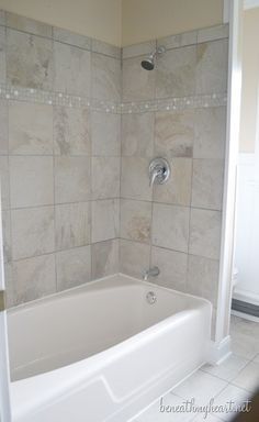 Our Bathroom Remodel Greige Subway Tile And More Bathroom - 4x4 bathroom tile designs