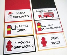 Firefighter themed party needs these firehouse food tent cards Included in this set is Dalmatian dog Fire Hydrant Fire Extinguisher and Fire Truck images with your own texts These food Third Birthday, 4th Birthday Parties, Boy Birthday, Fire Truck Birthday Party, Birthday Ideas, Fireman Party, Firefighter Birthday, Fireman Sam, Firefighter Baby Showers
