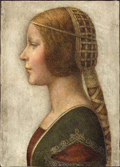 """La Bella Principessa (Bianca Sforza) attributed to Leonardo da Vinci, ca. 1495 (PD-art/old), Private collection, a leaf from Warsaw's """"La Sforziada"""" from Jagiellon collection"""