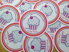 Birthday Cupcake Tags, Personalized Favor Tags, Set of 12 Thank You Tags, Gift Tags