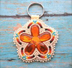 Native PopArt Orange Flower Sunburst Keychain by OraLouiseJewelry (Hillary Frost, Southern Ute)