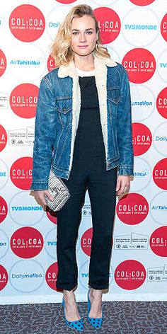 DIANE KRUGER Even when she dresses down, Diane manages to look impossibly chic. The actress pairs her basic black jumpsuit with a shearling-lined denim jacket, polka-dot heels and a striped clutch at the City of Lights, City of Angels Film Festival in L.A.