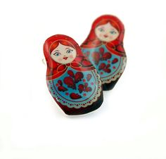 Red and Blue Russian Doll Stud Earrings by Jackdaw on Etsy, $7.00