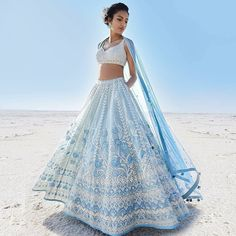 Designer lehenga by indian fashion designer anita dongre - Fashion Show Designer Bridal Lehenga, Bridal Lehenga Choli, Blue Lehenga, Lehenga Choli Designs, Eid Outfits, Bridal Outfits, Bridal Shoes, Bridal Jewelry, Anita Dongre