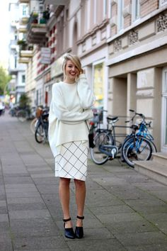 @roressclothes closet ideas #women fashion outfit #clothing style apparel Oversized Sweater and Skirt