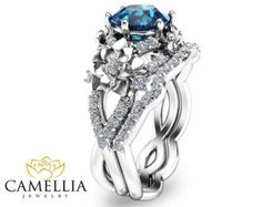 Blue Topaz Wedding Band Set White Gold Floral by CamelliaJewelry