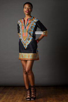 African Print Dress Dashiki Shift Dress by CHENBURKETTNY on Etsy