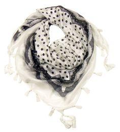 Foulard en soie pompons blanc pois dentelle - Foulard soie carré - Mes Echarpes