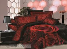 rose sheets | Unique Great Red Rose Printed 4 Piece Sets House Bedding Sets ...