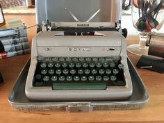 Excited to share this item from my #etsy shop: Royal Quiet DeLuxe typewriter, portable typewriter, working typewriter, Royal portable typewriter, qwerty, vintage typewriter, 1950's Royal Typewriter, Working Typewriter, Typewriter For Sale, Portable Typewriter, Nickel Plating, Vintage Soul, Vintage Typewriters, Gold Fabric, Retro Aesthetic