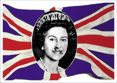 Jamie Reid - 'God Save the Queen', offset lithograph, signed, titled and editioned Queen E, Best Of British, Save The Queen, Union Jack, Elizabeth Ii, Punk Fashion, Graffiti Art, Vivienne Westwood, Giclee Print