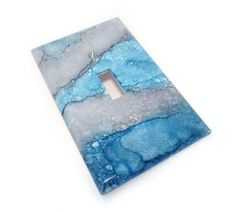 blue and gray light switch cover $12.50