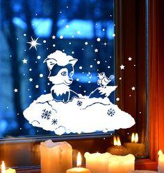 100% Rauhfaser tauglich Zauberhafte Fensterdeko selbstklebend und einfach abzulösen **Fensterbild Fensterdeko Winterlandschaft Schnee Fuchs Schneeflocken 1705** Fensterbild Fensterdeko...