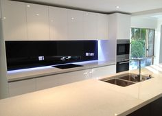 black splashback kitchen - Google Search