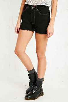 Urban Renewal Vintage Customised Levi's Raw-Cut Shorts in Black