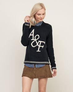 Womens Tipped Statement Logo Sweater | Womens New Arrivals | Abercrombie.com
