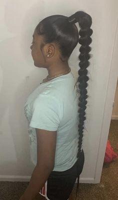 Long Ponytail Hairstyles, Hair Ponytail Styles, Black Girl Braided Hairstyles, Baddie Hairstyles, Girl Hairstyles, Curly Hair Styles, Braids For Black Hair, Braided Ponytail Black Hair, Black Girl Ponytails