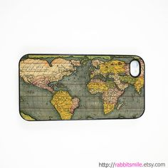 Antique World Map iPhone 5 Case, iPhone 4 case, iPhone 4s Cover , Hard Plastic iphone 5 Cover, cases