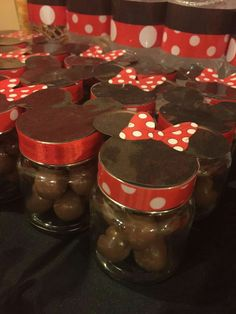 Mickey and minnie mouse mini jars with maltesers done by me