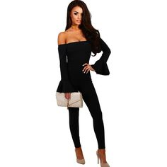 b40adee259d6  0 - Awesome Spring Off Shoulder Sexy Jumpsuit Women Rompers Autumn Flare Sleeve  Slim Bodycon Jumpsuit