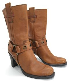 Tommy Hilfiger Reine Brown Leather Mid Calf O Ring Harness Heels Boots Sz 6 5 M | eBay