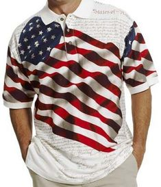 Flag Print Polo Shirt