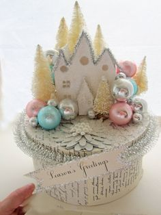 Putz Glitter House Whimsical Handmade Christmas Box by Carynbay.   #christmas #house #cardboard #putz #box #pastel #shabby #chic #vintage #decor