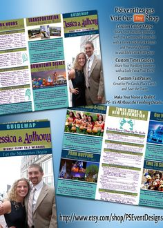 With any Destination Wedding, it is always a great idea to give your guests a timeline of all of the fantastic moments you have planned for them.     This Guide Map, inspired in design by the maps you'll get at all of the parks, gives your guests all of the important times and information for not only your event, but also the Park Hours during your visit, Transportation and Downtown Disney Information while sprinkling in lots of Pixie Dust with personal photos and color choices.