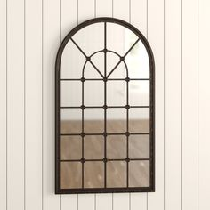 Mirror With Shelf, Metal Mirror, Round Wall Mirror, Cathedral Windows, Entryway Wall, Glass Center, Rustic Walls, Beveled Glass, Birch Lane