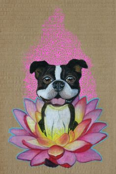 Zen Boston Terrier Art Print  I have the large art print of this. The artist is amazing & she has captured the Boston's essence.
