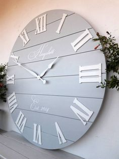 33 Personalized wall Clock Large wall clock Oversized clock Wedding gifts for couple by DecoLavka on Etsy 843087992727910080 Big Wall Clocks, White Clocks, Wood Clocks, Kitchen Wall Clocks, Antique Clocks, Rustic Bathroom Decor, Diy Wall Decor, Rustic Decor, Wall Clock Decor
