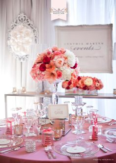 red, peach, blush..Love.  from the amazing WedLuxe Wedding Show! Cynthia Martyn Events <3