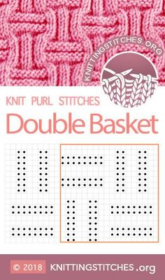 Double Basket Weave Knitting Techniques techniques used in knitting Knit Purl Stitches, Knitting Stiches, Knitting Blogs, Knitting Charts, Knitting Yarn, Knitting Projects, Baby Knitting, Knitting Patterns, Crochet Pattern
