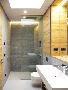 In this bathroom, a skylight provides additional light.