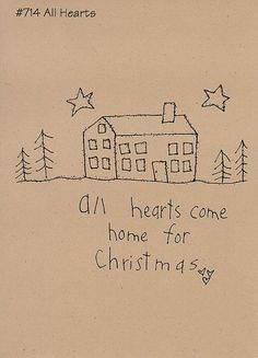 Items similar to Primitive Stitchery Pattern Christmas Folk Art Pattern All Hearts on Etsy