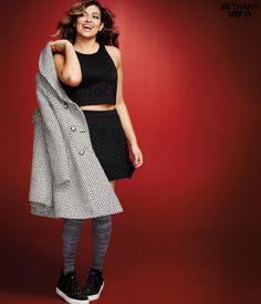 """Get ready to rock in my Perforated Crop Top! Wear it to your holiday parties and snap into flirty mode; it features a sassy cropped length and fabric that's perforated with stylish patterns. Mwah, xoxo Beth<br><br>Relaxed fit. Approx. length: 16.5""""<br>Style: 7760. Imported.<br><br>Body: 98% polyester, 2% spandex.<br>Lining: 100% polyester.<br>Machine wash/dry.<br><br>Model info: Height: 5'9""""   Bust: 34""""   Waist: 26""""   Hip: 33""""   Wear size: Small."""